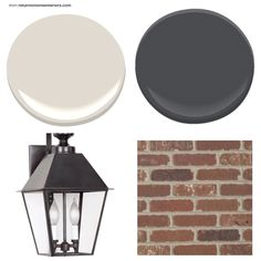 Option 1 for exterior paint with brick accents and our new lanterns- use same brick on entry way and on bottom of columns- gate