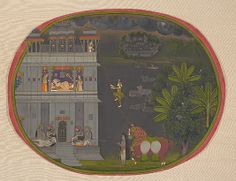 Escapade at Night: A Nobleman Climbs a Rope to Visit His Lover, ca. 1800-10.  Attributed to Chokha - Opaque watercolor, ink and gold on paper