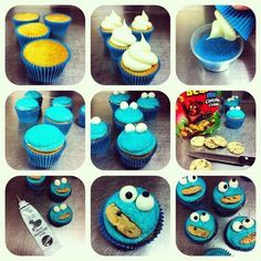 cookie monster cupcakes, these may be easier for the kids to make because there is only one set of options rather than get crazy with cookies and random sprinkles...