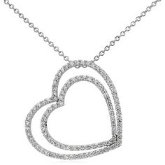 Blue Nile Duet Heart Diamond Necklace ($1,575) ❤ liked on Polyvore featuring jewelry, necklaces, bijoux, diamond necklaces, diamond pendant, heart shaped diamond necklace, diamond heart pendant, round pendant necklace and diamond heart necklace