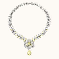 Piaget Brooches | Piaget Rose Passion necklace in white gold, diamonds, yellow diamonds