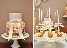 Betty from P&J by Design sent us this romantic-styled dessert table that shestyled this table for a wedding. Lace, crystal candelabras, a handmade shimmer backdrop, and beautiful brooches gave this table a touch of elegance. We LOVE the ruffled cake from Lisa ofCakes & Biscuits. Other sweet treats included sugar cookies, cupcakes, macaroons and a …