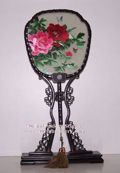 Peony, double-sided embroidery work, one embroidery two identical sides, Chinese Suzhou silk embroidery art, Su Embroidery Studio