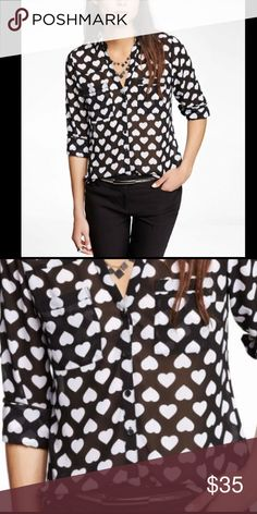 Express Portafino Sheer Hearts Large Like new. Super fun!! First two photos are stock photos Express Tops Blouses