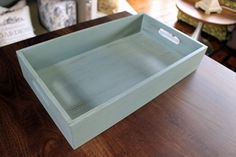 Green wooden crate