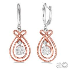 1/3 Ctw Lovebright Round Cut Diamond Earrings in 14K Rose/Pink and White Gold