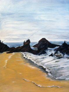 """Peinture paysage acrylique """"Pêcheurs du crépuscule"""" : Peintures par lumeline"""