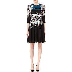 ERDEM Cowen floral-print silk dress (Black pink