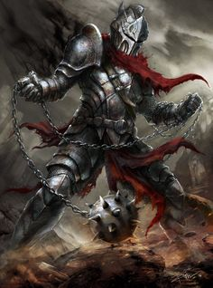 m Fighter Plate Armor Helm Flail Wilderness Minion of the Reaper Hardcore Art Fantasy Warrior, Dark Warrior, Fantasy Male, Dark Fantasy Art, Fantasy Rpg, Medieval Fantasy, Fantasy Artwork, Armadura Medieval, Epic Characters