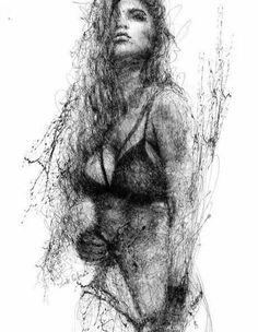 Expressive pen strokes by Italian artist Erick Centeno