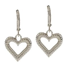 qvc Steel by Design Stainless Steel Ribbed Heart Lever Back Earrings K051 #SteelbyDesign #DropDangle