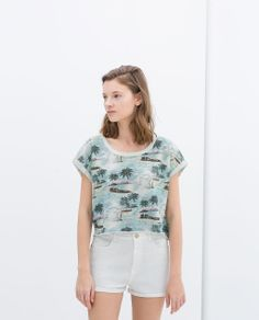 Image 3 of PRINTED CROPPED SHIRT from Zara