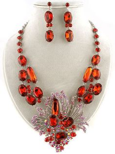 Elegant Flower Basket Ruby Red Crystal Necklace Set #FashionJewelry