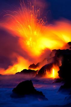 """Midnight Fury"" by Bruce Omori, Lava, Eruption, Volcano, Ocean"