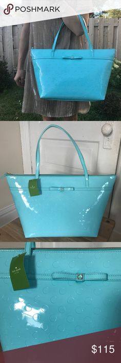 """Kate Spade NWT Camellia Tote Adriatic Blue Kate Spade NWT Camellia Tote Adriatic Blue Patent Leather. New With Tags. 100% authentic, Patent leather teal, and in perfect condition. Gold tone hardware, dual strap shoulder straps, embossed polka dot pattern throughout, bow embellishment at front, tan logo jacquard lining, 3 interior pockets- one with zip closure and zip closure at top. Shoulder strap drop: 7.5"""", Height 11"""", Width 12.5"""", Depth 7"""". kate spade Bags Totes"""