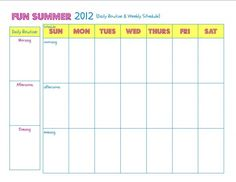 Fun Summer Planning {Daily & Weekly Routine printable}