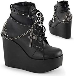 Looking for Demonia Women's Boot ? Check out our picks for the Demonia Women's Boot from the popular stores - all in one. Black Platform Boots, Black Ankle Boots, Leather Ankle Boots, Ankle Booties, Platform Wedge, Leather Buckle, Platform Shoes, Combat Boots, Wedge Boots