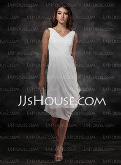 Bridesmaid Dresses - $108.99 - Sheath V-neck Knee-Length Chiffon Bridesmaid Dresses With Ruffle (007022516) http://jjshouse.com/Sheath-V-Neck-Knee-Length-Chiffon-Bridesmaid-Dresses-With-Ruffle-007022516-g22516