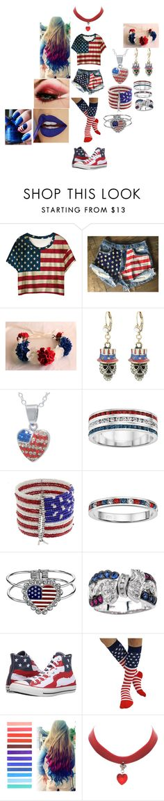 """""""Happy Fourth Of July"""" by fallenangel889 ❤ liked on Polyvore featuring Levi's, Betsey Johnson, Crystal Sophistication, Mixit, 1928, Leona Edmiston and Converse"""