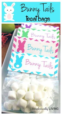 Learn how to make these adorable Bunny Tails Treat Bags! Perfect for classmates, neighbors, etc.
