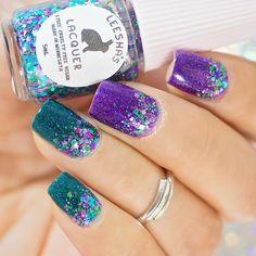 Glittler, green, purple, gradient glitter topper, nails, mani