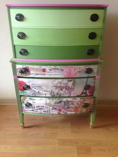 Olivine ombre drawers and Stotesbury Pink Dresser by Vintage Tickled Pink. #furniture #paint #chalk #DIY