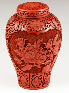 Chinese Cinnabar Covered Jar‍♀️‍♀️‍♀️More Pins Like This At FOSTERGINGER @ Pinterest ‍♂️