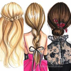 Who doesn't like a good hair day? (My curls would never cooperate with these styles but a girl could dream ). Best Friend Drawings, Girly Drawings, Fashion Design Drawings, Fashion Sketches, Hair Illustration, Girly M, Good Hair Day, How To Draw Hair, Best Friends Forever