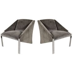 Pair of Modernist Angular Club Chairs attributed to Milo Baughman | From a unique collection of antique and modern armchairs at http://www.1stdibs.com/furniture/seating/armchairs/