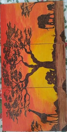 Trittico paesaggio africano con soggetti pirografati e sfondo dipinto in acrilico