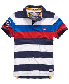 New Mens Superdry Duo Hoop Stripe Polo Shirt Rigging Navy Polo Shirt Style, Polo Rugby Shirt, Mens Polo T Shirts, Striped Polo Shirt, Golf Shirts, Men's Polos, Rugby Shirts, Shirt Men, Superdry Fashion