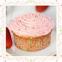 Vanilla Cupcakes with Strawberry Buttercream Frosting by Eat. Drink. Love.