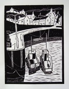 Colin Moore CRAIL HARBOUR UK lino