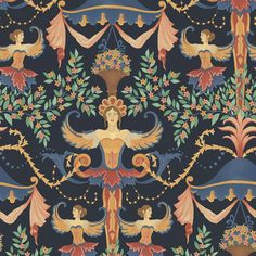 Chamber Angels | Cole & Son Eclectic Wallpaper, Scenic Wallpaper, Wallpaper Direct, Cool Wallpaper, Cole And Son, Kensington Palace Orangery, Dancing Figures, Angel Wallpaper, Wallpapers