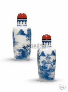 Salt and Pepper shakers, blue and white porcelain. I like the red tops.