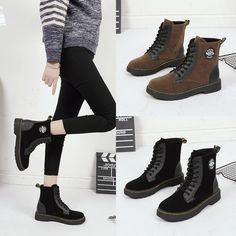 43bf91a6d3d0 Women Lady Lace Up Ankle Military Boots Army Patchwork Low Block Heels Punk  Shoe
