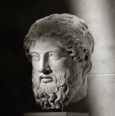Copy of a Greek marble herm,  450–425 BCE. The messenger god Hermes was closely associated with boundaries, and his protective image in the form of a bearded head set on a rectangular stone shaft was places at doorways and at strategic points along the roadside. This beautiful head gives a sense of the serene grandeur that marked images of Zeus during the high classical period. The most famous of these was the gigantic gold and ivory statue of Zeus at Olympia, made by Phidias.