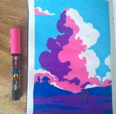 I wanted to experiment with some landscapes but here I'm really starting to struggle with the limited range of colours I have in posca pens, and you can't really blend. Kunstjournal Inspiration, Art Journal Inspiration, Art Inspo, Marker Kunst, Marker Art, Art Sketches, Art Drawings, Posca Art, Arte Sketchbook