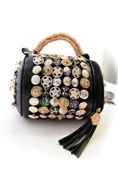 fastener Tassels Diamante Single-shoulder Bag