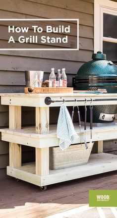 Get started building your grill stand with this easy, step-by-step guide, and ge. Get started building your grill stand with this easy, step-by-step guide, and get ready for grilling season. Grill Diy, Wood Grill, Barbecue Grill, Backyard Projects, Outdoor Projects, Backyard Patio, Backyard Ideas, Outdoor Kitchen Countertops, Outdoor Kitchen Bars