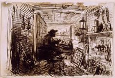 The Studio on the Boat - Charles-Francois Daubigny