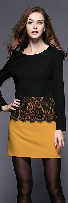 Black And Yellow Lace Dress