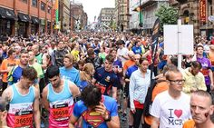Tens of thousands of defiant runners turned out to pound the pavements in the first major city-centre event since 22 people were killed by the Manchester bomber 10km Run, Daily Mail Uk, Street Run, Slogan, Manchester, Times Square, Organisers, Running, City