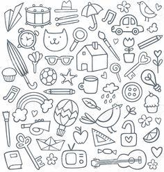 Illustration of set of 50 doodles vector art, clipart and stock vectors. Doodle Tattoo, Doodle Art Drawing, Motivation Letter, Doodle Background, Kids Daycare, Doodle Icon, Little Doodles, Sketch Notes, Halloween Drawings