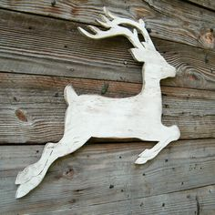 big whitewashed reindeer for Christmas decoration