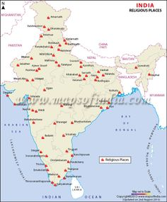 India Mission   Map Of Religious Places In India