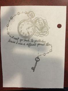 pocket watch, roses, and key Tattoo Drawings, I Tattoo, Tattoo Quotes, Art Drawings, Wonderland Tattoo, Alice In Wonderland, Alice Quotes, Geometric Pattern Design, Tattoo Bracelet