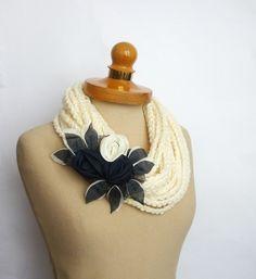 Ecru Infinity Scarf Crochet NecklaceEcru color by IskaCreations Craft Markets, Satin Flowers, Ecru Color, Summer Crafts, Crochet Scarves, Crochet Necklace, Artisan, Knitting, Trending Outfits
