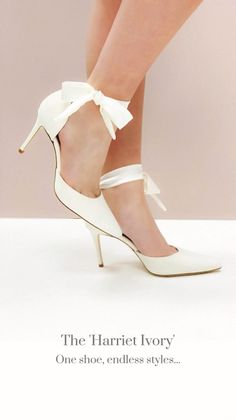Harriet Ivory is the must-have wedding shoe for brides who want to change their look throughout their wedding day. This sexy d'Orsay style sits on a slim mid heel and comes with two strap options so you can change up your look throughout the day. Ribbon Shoes, Dope Outfits For Guys, Satin Sash, Bride Shoes, Walking Down The Aisle, Party Fashion, Knot, Brides, Kitten Heels