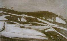Giorgio Morandi, Landscape, 1944; oil on canvas; 12 x 21 in.